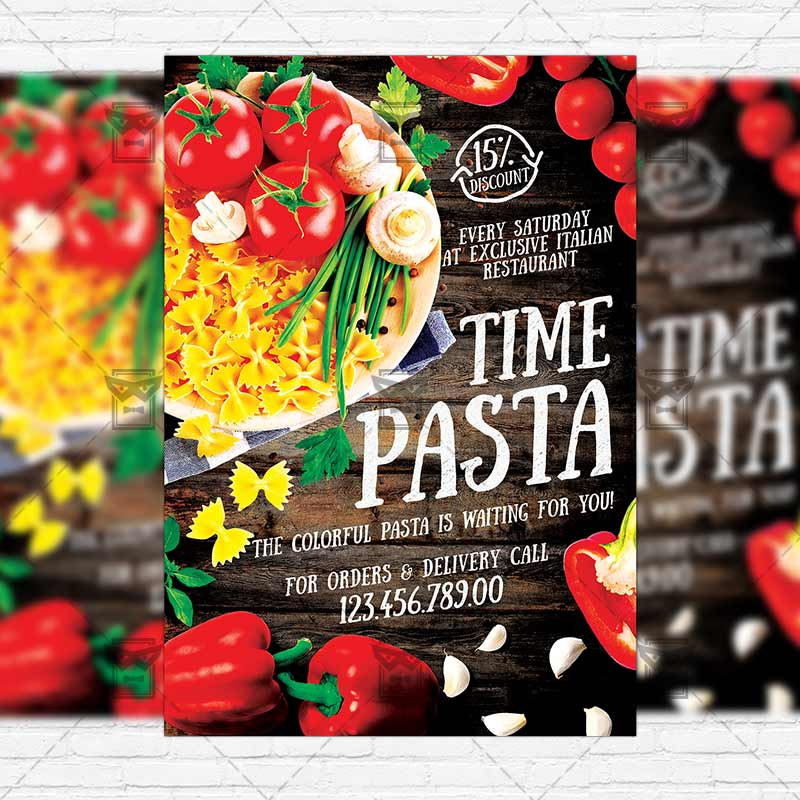 Pasta Time  Premium Flyer Template  Instagram Size Flyer