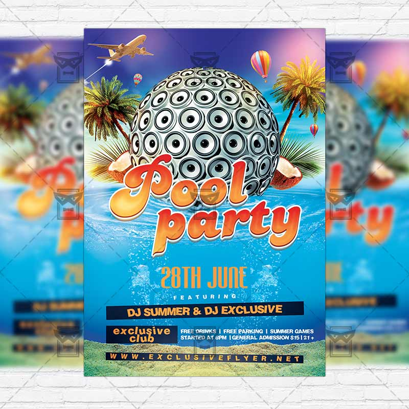 Summer_pool_party Premium Flyer Template Instagram_size 1
