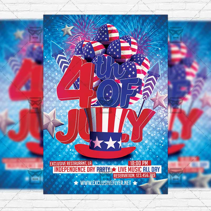 Independence Day Party  Premium Flyer Template  Instagram Size