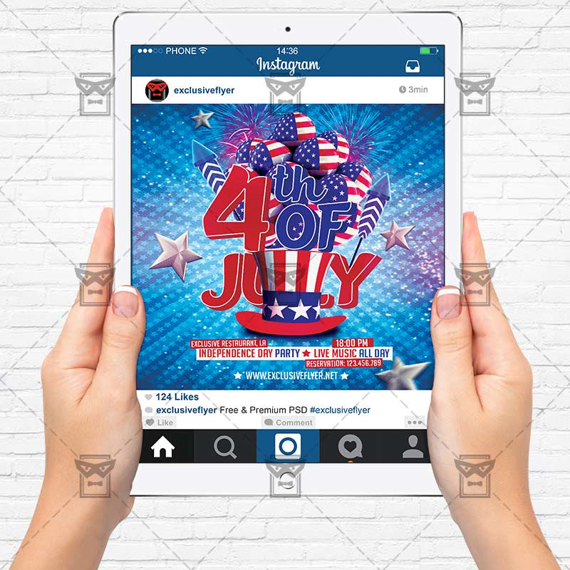 Independence Day Party – Premium Flyer Template + Instagram Size ...