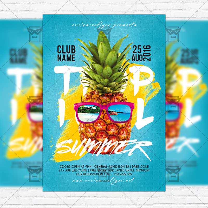 Tropical Summer – Premium Flyer Template + Instagram Size Flyer