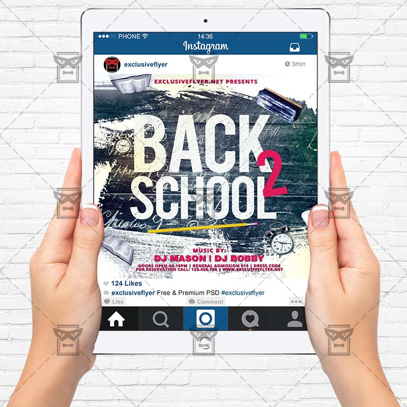 back to school party premium flyer template instagram size flyer exclsiveflyer free and. Black Bedroom Furniture Sets. Home Design Ideas