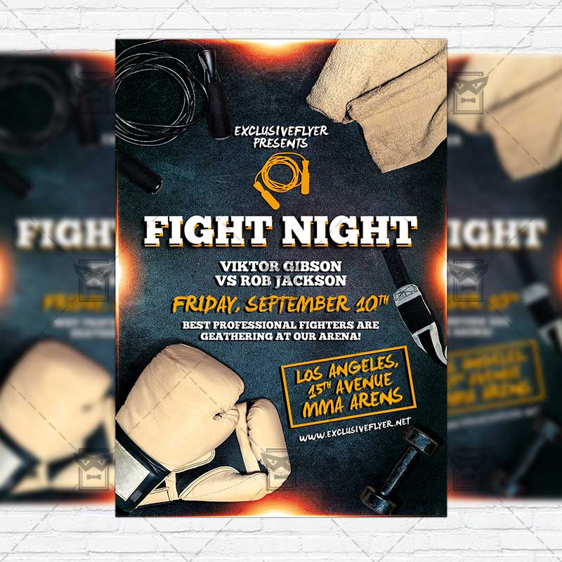 Fight Night  Premium Flyer Template  Instagram Size Flyer