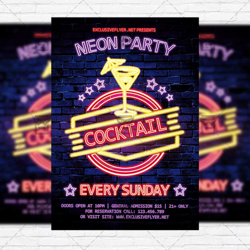 Neon Cocktail Party – Premium Flyer Template + Instagram Size ...