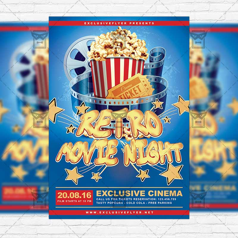 Retro Movies Night – Premium Flyer Template + Instagram Size Flyer ...