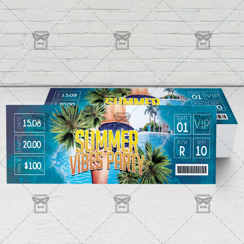summer vibes party premium psd ticket template exclsiveflyer