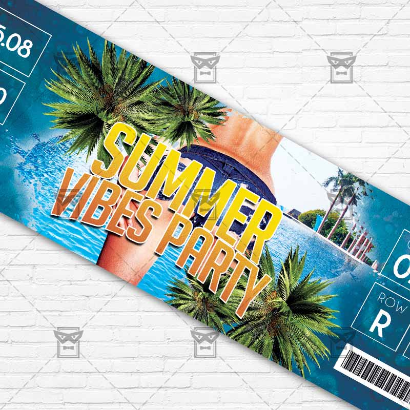 ... Summer Vibes Party Premium Psd Ticket Template 3  Party Ticket Template