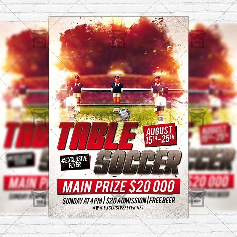 Table Soccer Game Premium Flyer Template Instagram Size Flyer