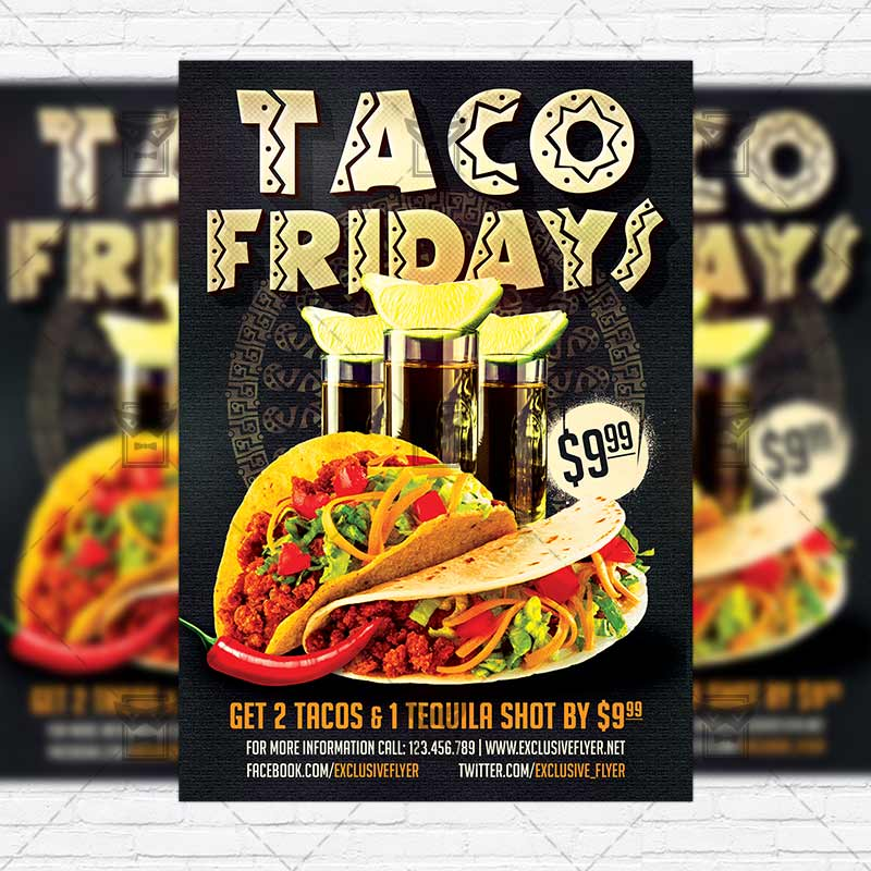 Taco Fridays  Premium Flyer Template  Instagram Size Flyer