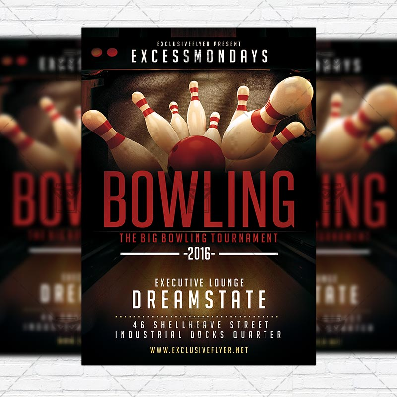 The Big Bowling Premium Flyer Template Instagram Size   Bowling Flyer Template Free