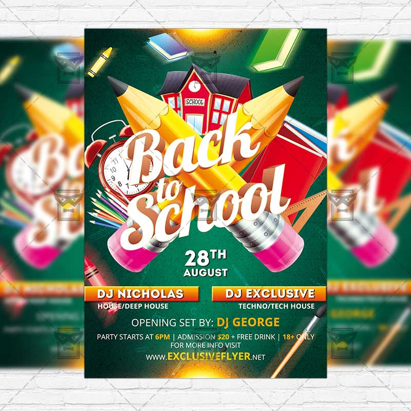Back To Top 2 School Party Premium Flyer Template Instagram Size 1