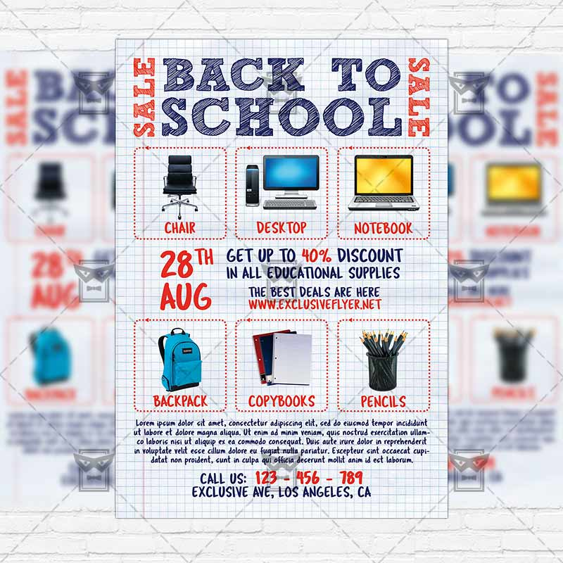 Back To School Sale Vol  Premium Flyer Template  Instagram Size