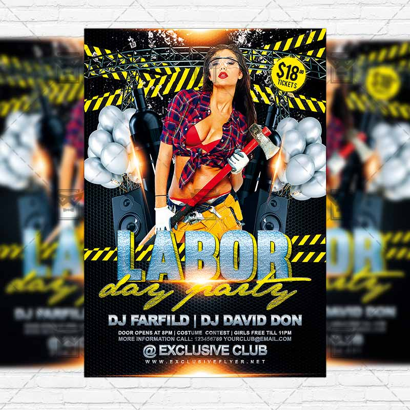 Labor Day Party Premium Flyer Template Instagram Size Flyer