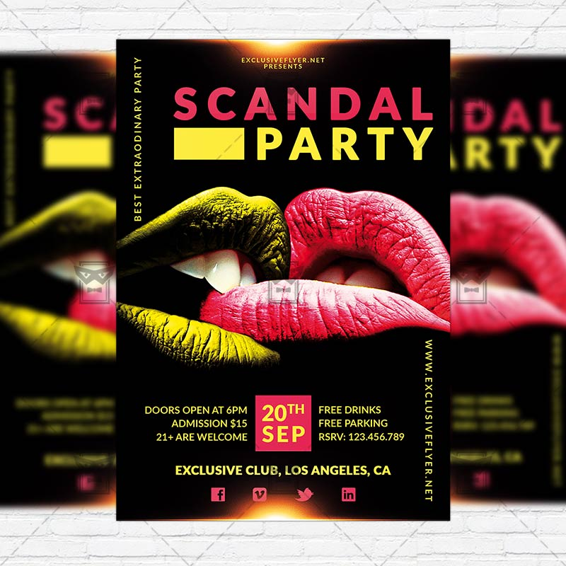 scandal party premium flyer template instagram size flyer exclsiveflyer free and premium. Black Bedroom Furniture Sets. Home Design Ideas
