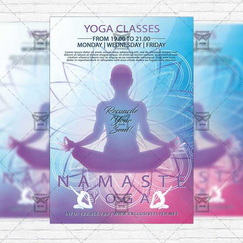 Yoga Classes – Premium Flyer Template + Instagram Size Flyer ...