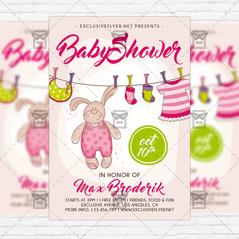 Baby Shower Vol5 Premium Flyer Template Instagram Size Flyer