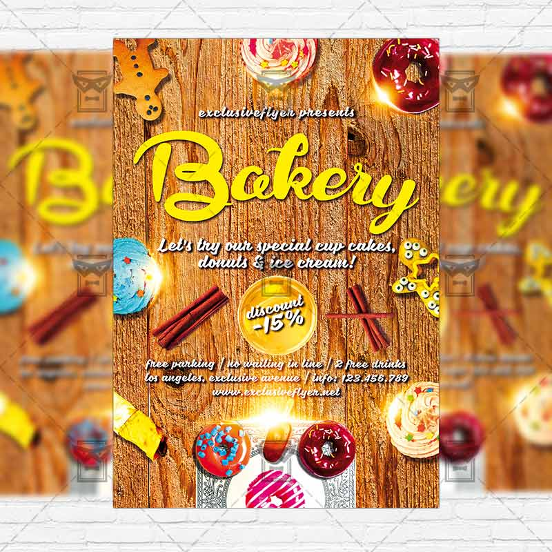 Bakery Premium Flyer Template Instagram Size Flyer - Bakery brochure template free