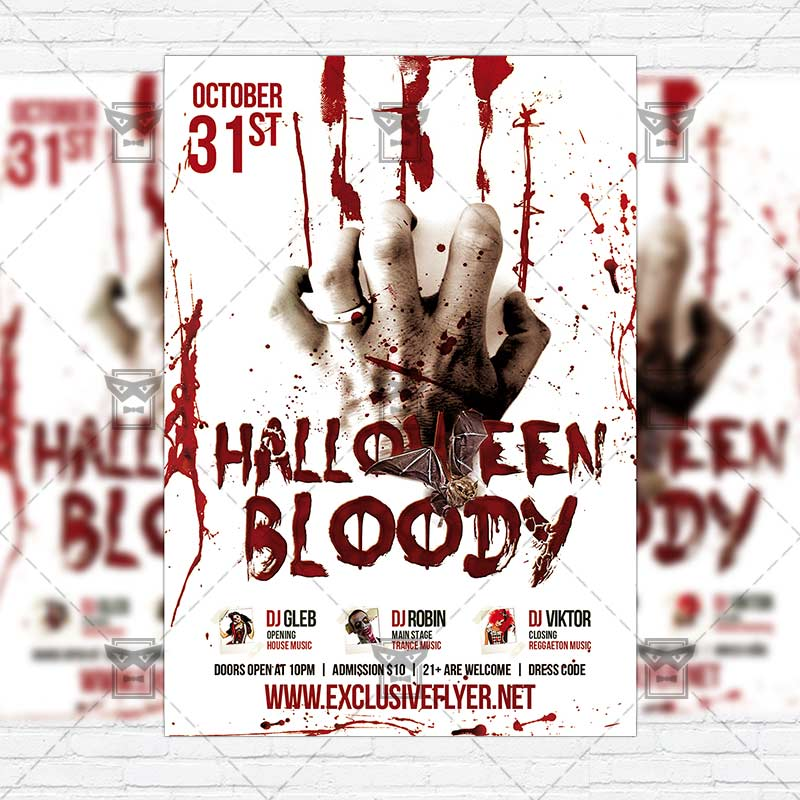 bloody halloween premium flyer template instagram size flyer exclsiveflyer free and. Black Bedroom Furniture Sets. Home Design Ideas