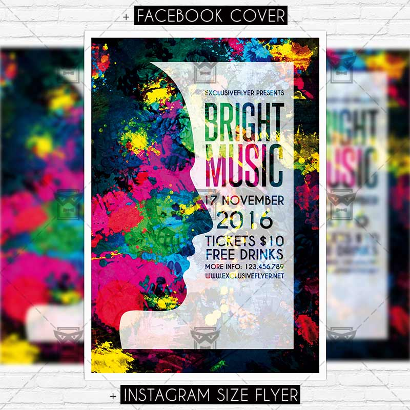 Bright Music Night Premium Psd Flyer Template Exclsiveflyer