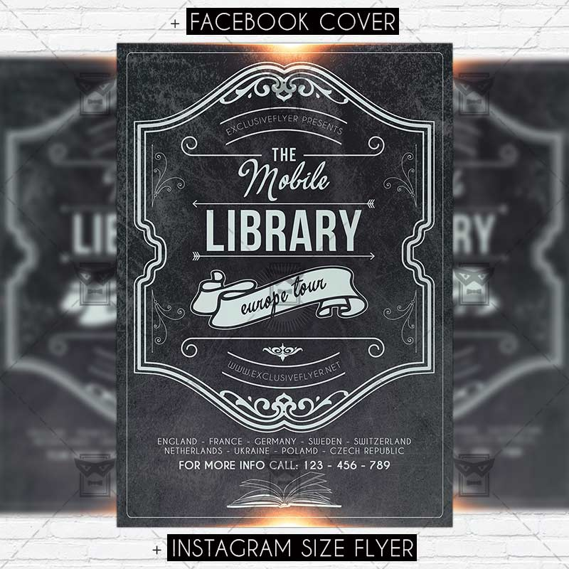 Mobile Library Premium PSD Flyer Template ExclsiveFlyer Free - Facebook ad template library