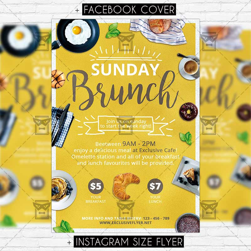 Sunday Brunch Premium PSD Flyer Template ExclsiveFlyer – Lunch Flyer Template