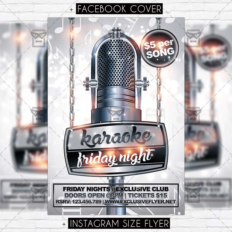 Karaoke Friday Night  Premium Flyer Template  Exclsiveflyer