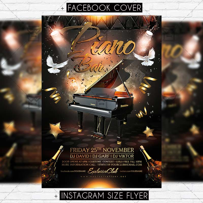 Piano Bar  Premium Flyer Template  Exclsiveflyer  Free And