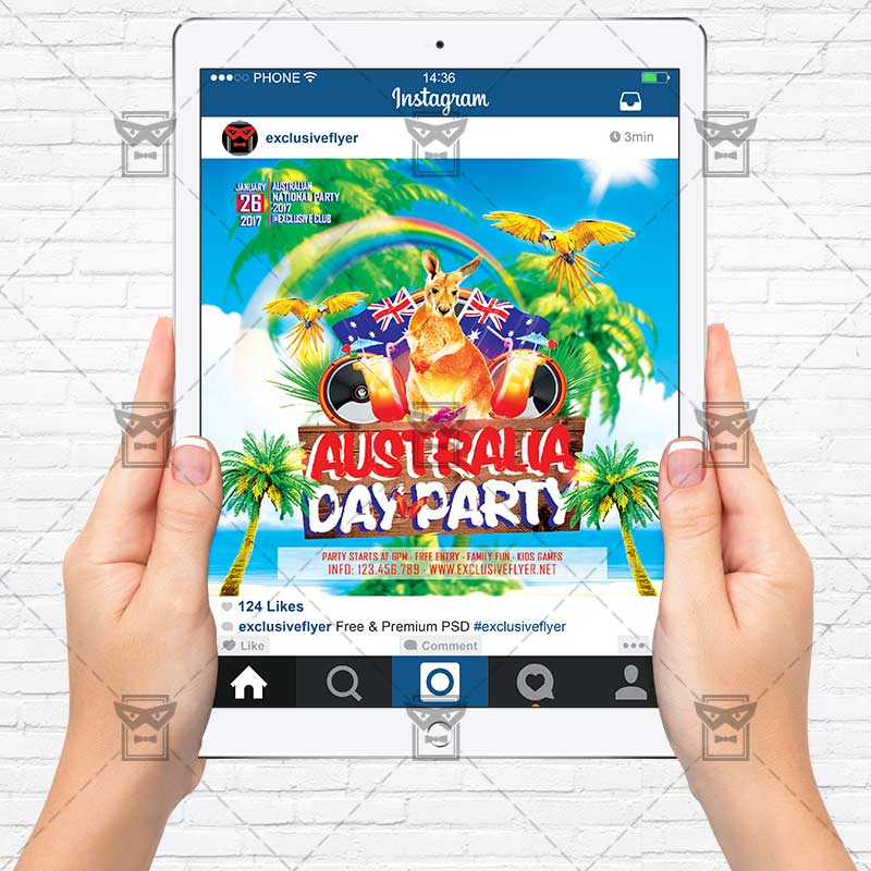 Australia Day Party Premium Flyer Template Exclsiveflyer Free