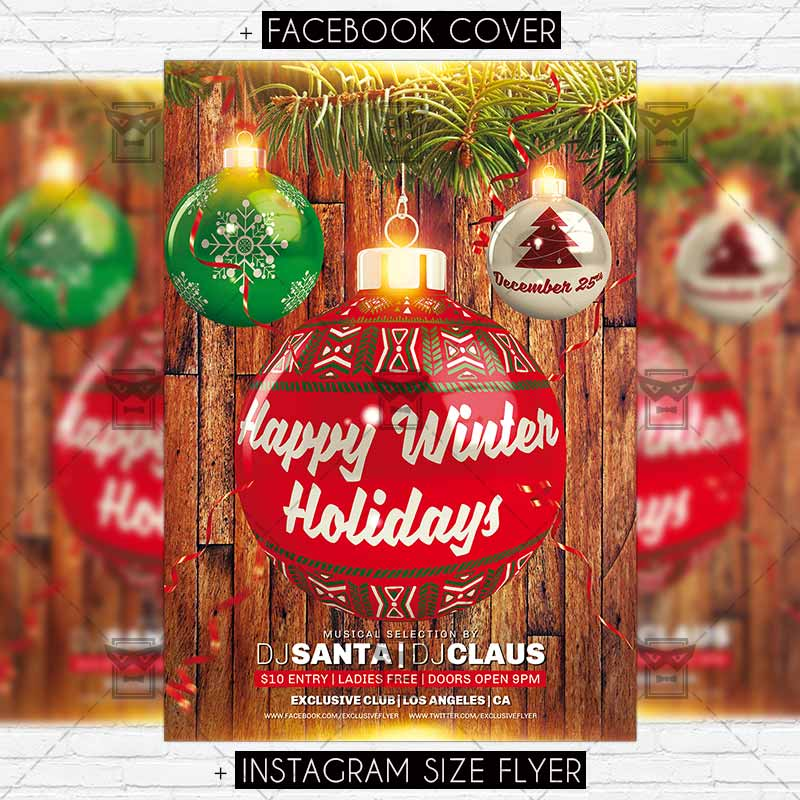 Happy Winter Holidays Premium Flyer Template Exclsiveflyer
