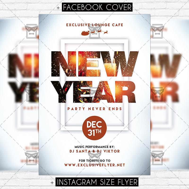 New Year Party Never Ends – Premium Flyer Template | ExclsiveFlyer ...