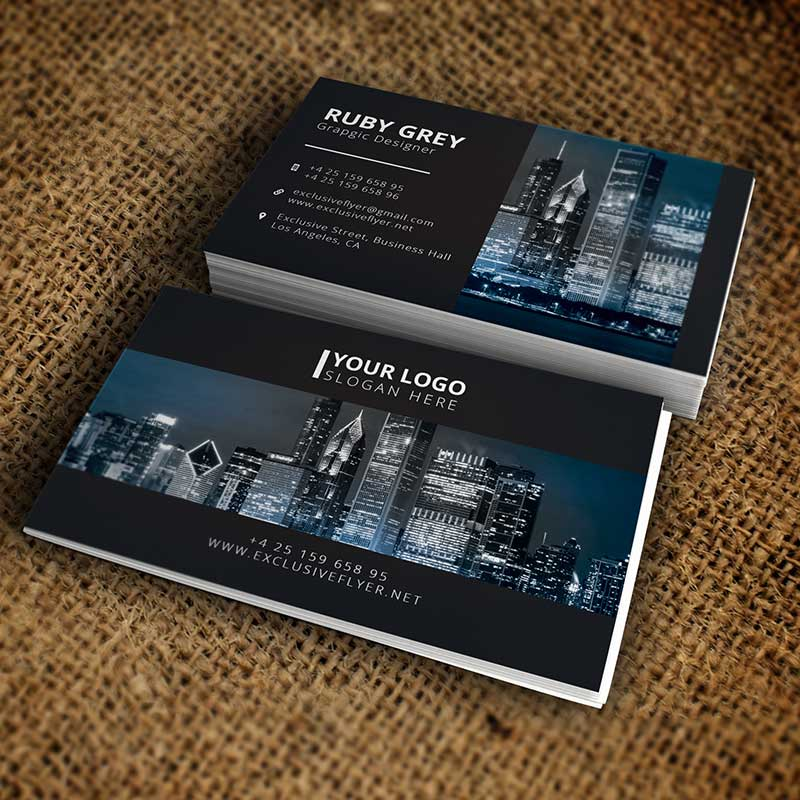 Simple Black White Business Card Premium Business Card Template