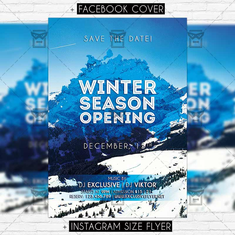 winter season opening premium flyer template exclsiveflyer