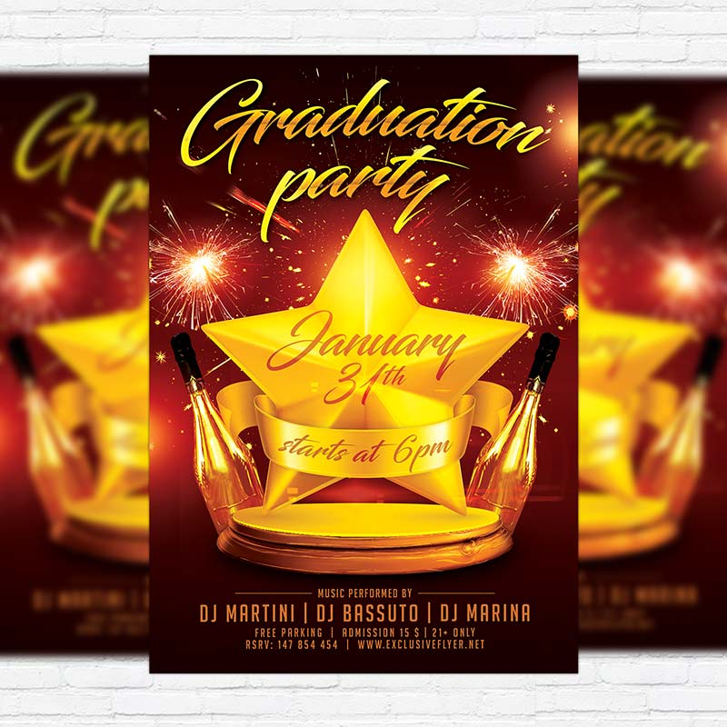 Graduation Party  Free Club And Party Flyer Psd Template
