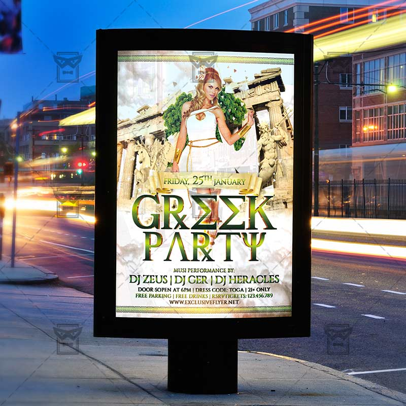 Greek Party Premium Flyer Template Exclsiveflyer Free And