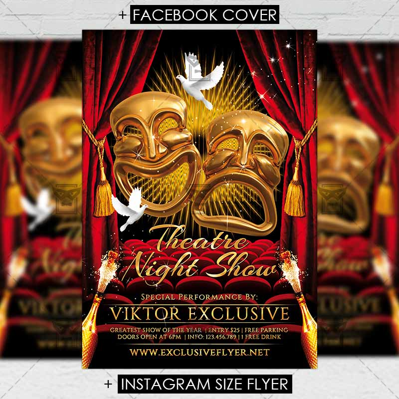 theatre night premium flyer template exclsiveflyer free and