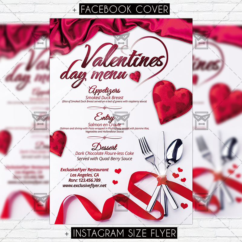 valentines day menu premium flyer template exclsiveflyer free