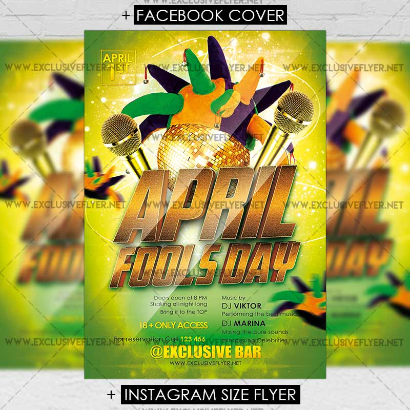 April Fools Day Party Premium Flyer Template Exclsiveflyer