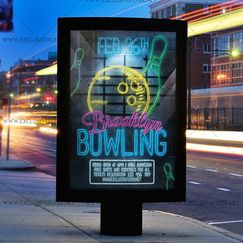 bowling � premium flyer template exclsiveflyer free