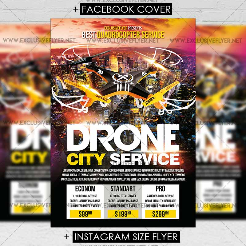 Drone City Service Premium Flyer Template Exclsiveflyer Free