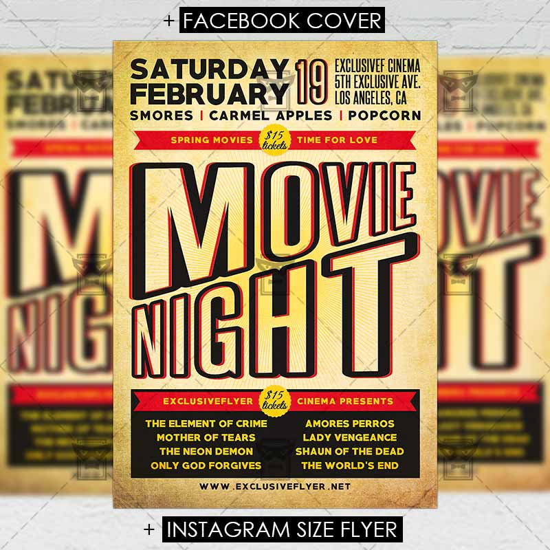 Movie Night  Premium Flyer Template  Exclsiveflyer  Free And