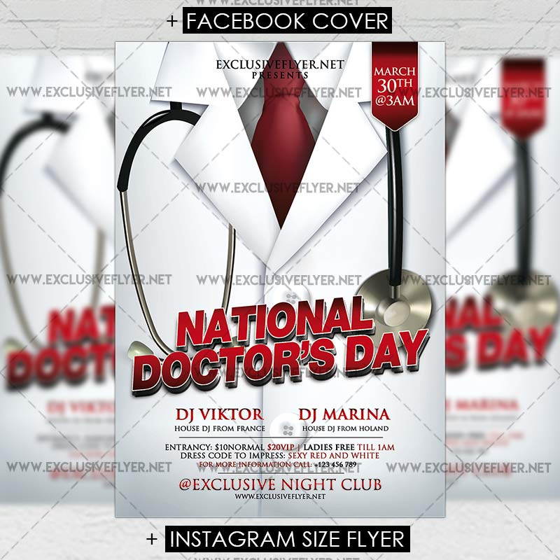 National doctors day premium flyer template for Nurses week flyer templates