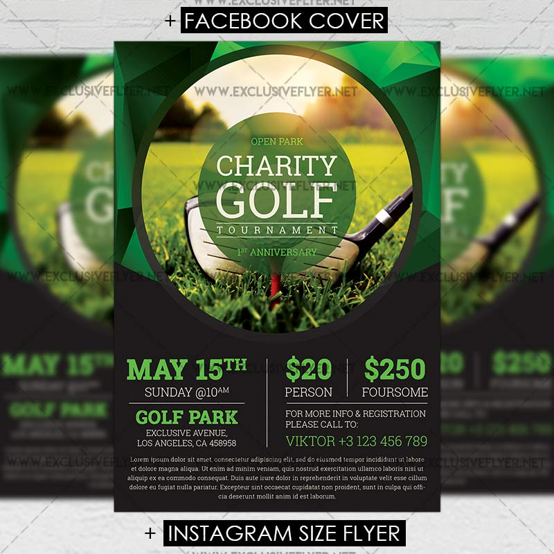 Golf Tournament – Premium A5 Flyer Template | Exclsiveflyer | Free