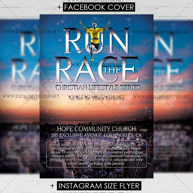 Run The Race Premium A5 Flyer Template Exclsiveflyer Free And