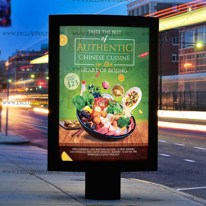 Authentic chinese cuisine premium a5 flyer template for Authentic cuisine