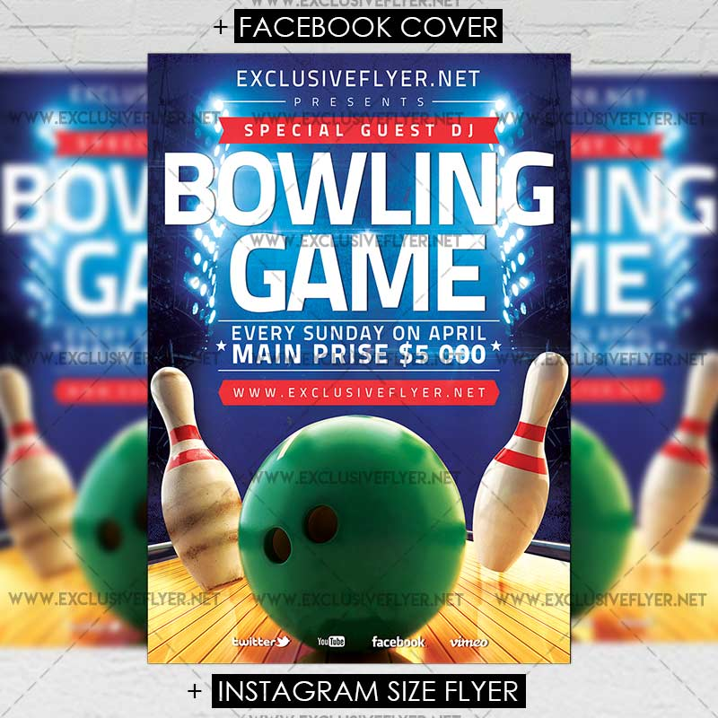Bowling Game Premium A5 Flyer Template Exclsiveflyer Free And