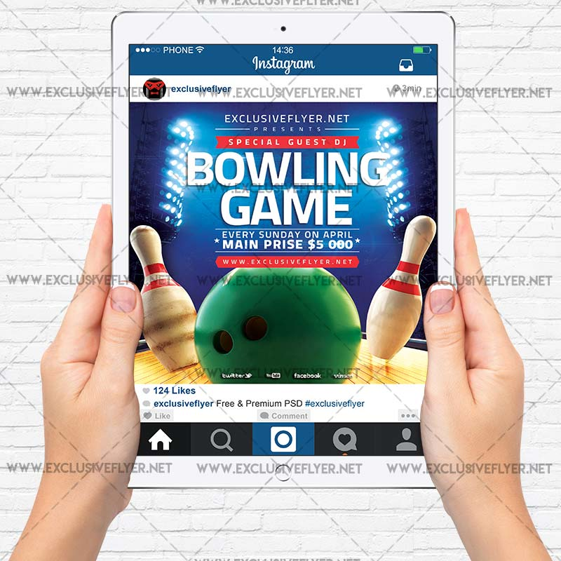 bowling game premium a5 flyer template exclsiveflyer free and premium psd templates. Black Bedroom Furniture Sets. Home Design Ideas