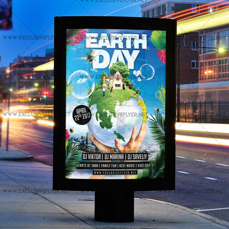Earth Day Flyer Template Free Celebration Premium A5 Exclsiveflyer
