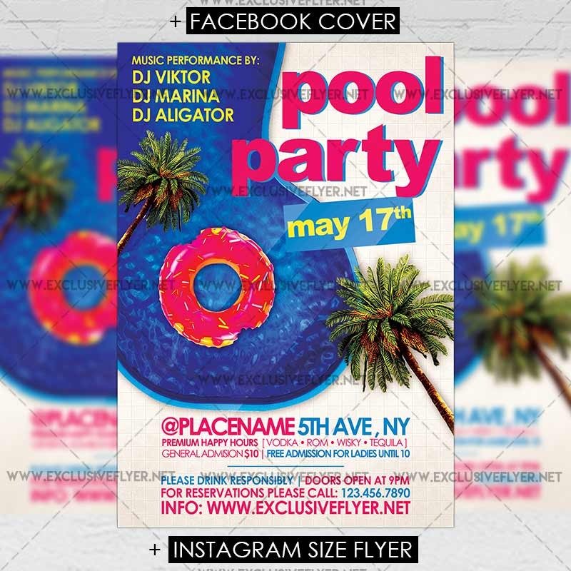 Pool Party – Premium A5 Flyer Template | ExclsiveFlyer | Free and ...