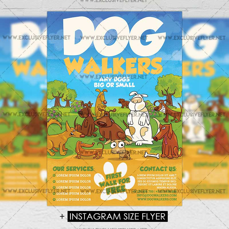 Dog Walkers Premium A5 Flyer Template Exclsiveflyer Free And