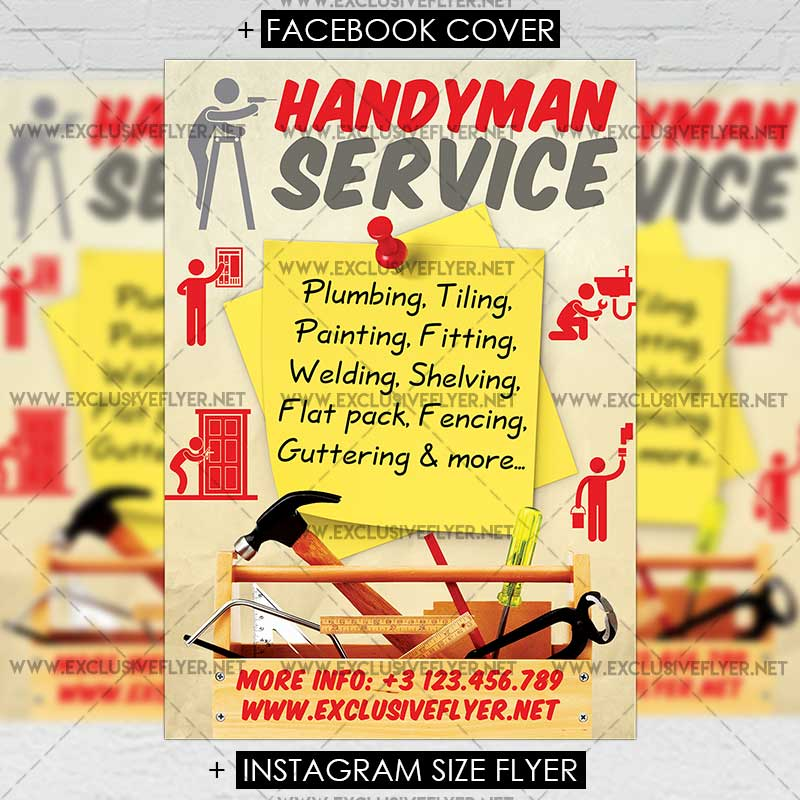 handyman service premium a5 flyer template exclsiveflyer free and premium psd templates. Black Bedroom Furniture Sets. Home Design Ideas